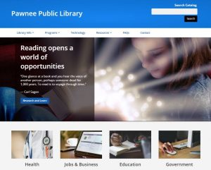 screen shot of library's new website home page