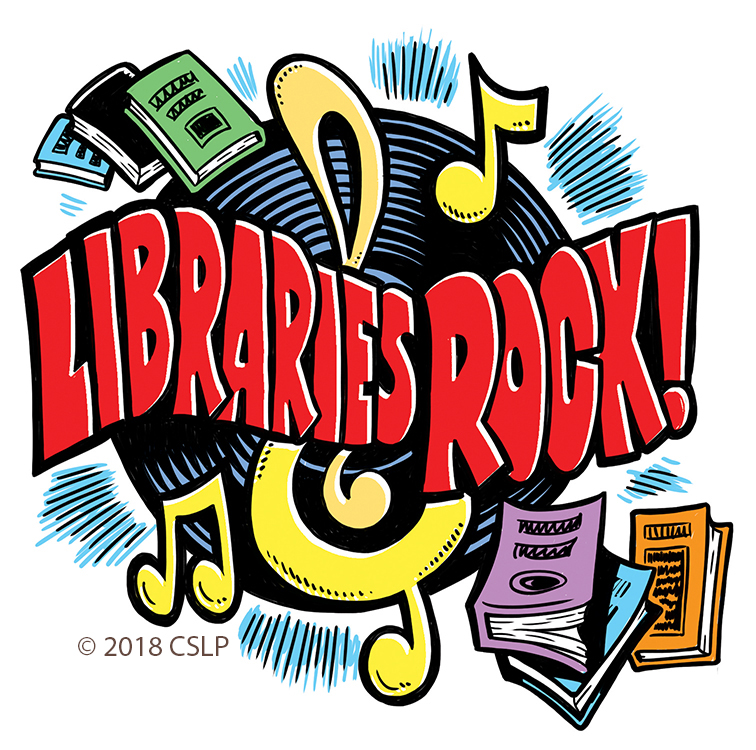 Image result for libraries rock logo with white background